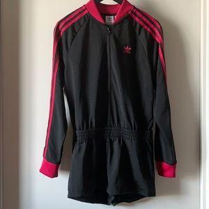 Adidas Triple Stripe Romper in Black & Pink